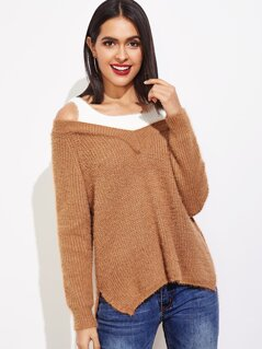 Cold Shoulder 2 In 1 Sweater