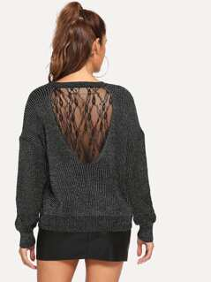 Floral Lace Insert Marled Sweater