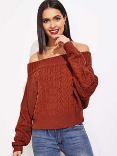 Mixed Knit Bardot Sweater
