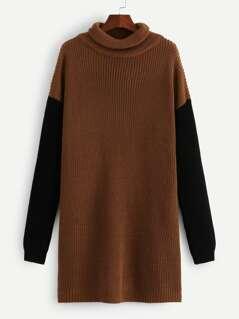 Color-Block Sleeve Longline Sweater