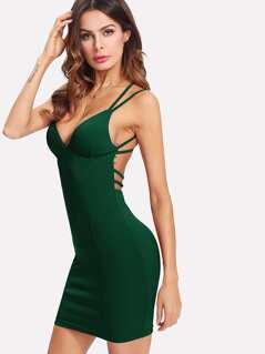 Criss-cross Strappy Back Bodycon Cami Dress