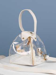 Detachable Strap Transparent Vinyl Mini Lantern Bag