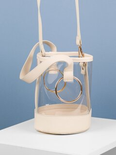 Faux Leather Trim Clear Vinyl Bucket Bag