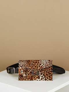 Charm Accent Fuzzy Leopard Waist Belt Flap Bum Bag