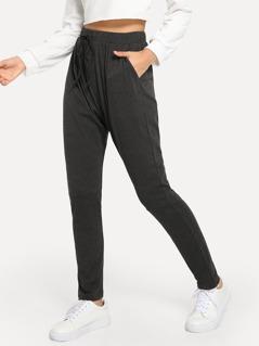 Drawstring Waist Pocket Solid Pants