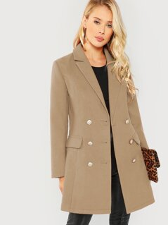 Double Breasted Notched Neck Solid Coat