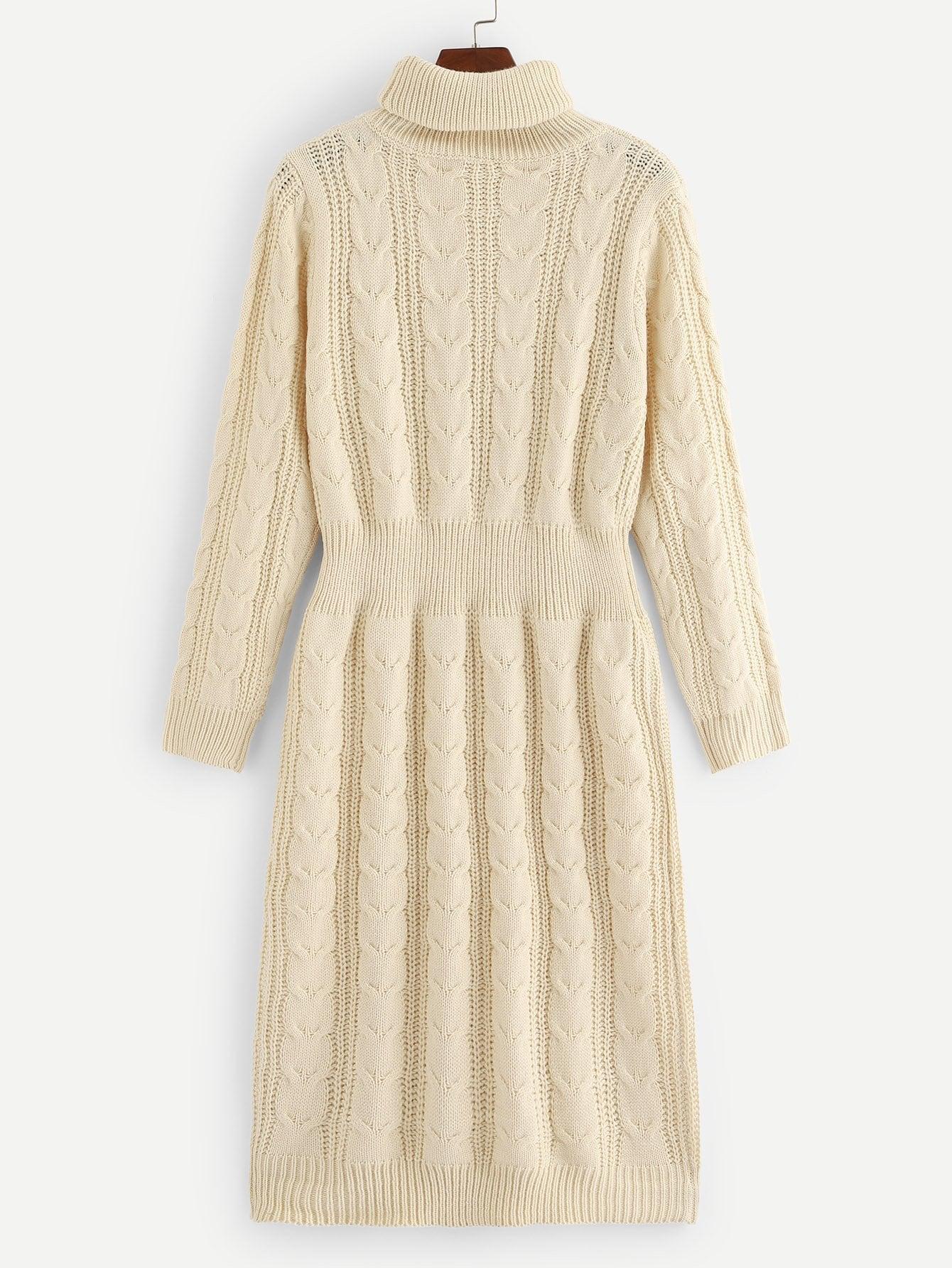 Купить Вязаный свитер платье с высоким вырезом, null, SheIn