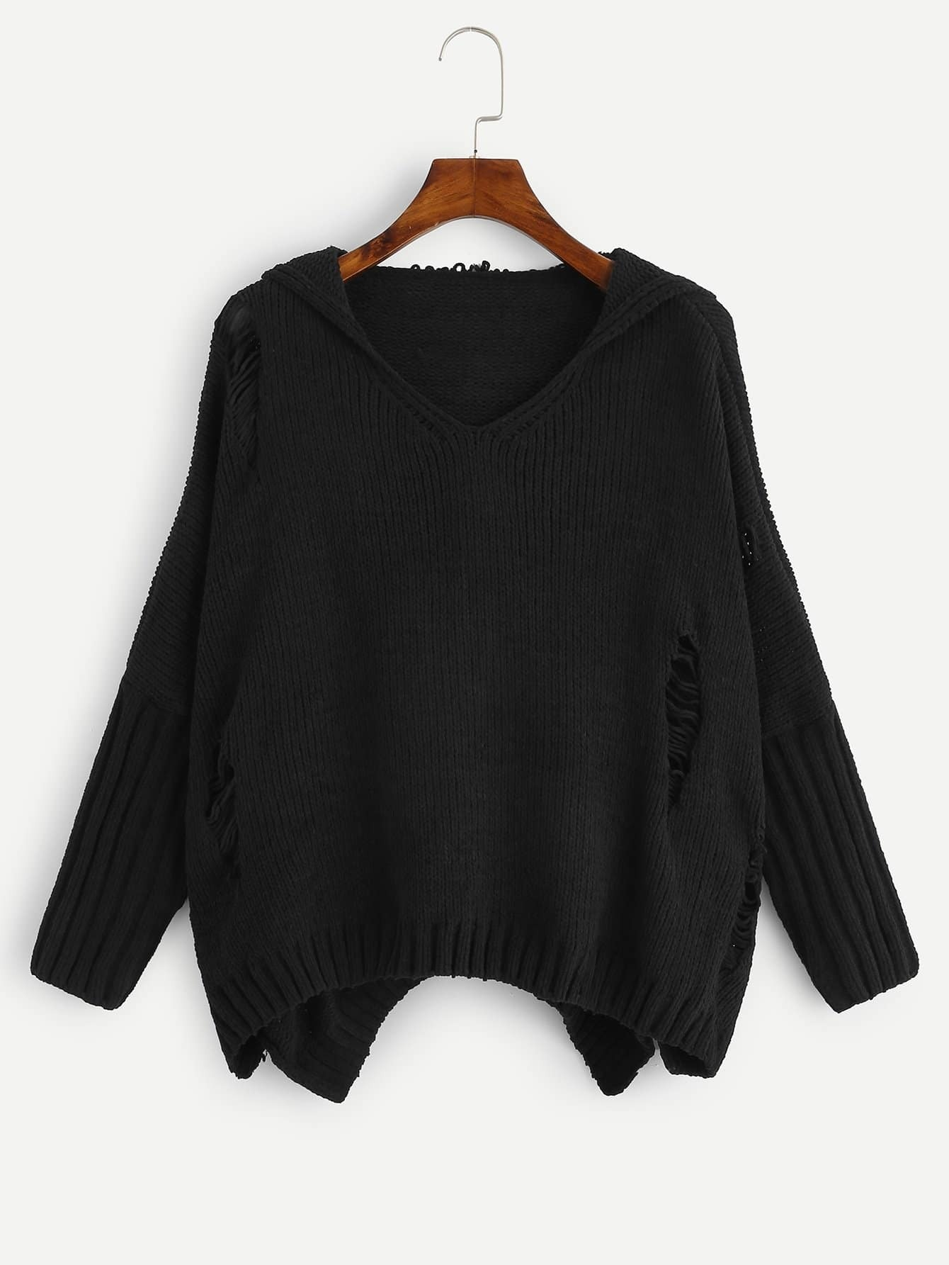 Купить Рваный свитер с капюшоном с заниженной линией плеч размера плюс, null, SheIn