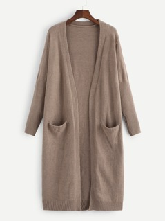 Pocket Front Heathered Duster Cardigan