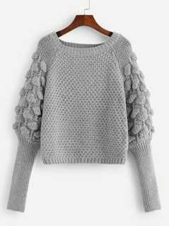 Leg-of-mutton Sleeve Solid Sweater