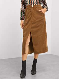 Pocket Patched Slit Cord Skirt