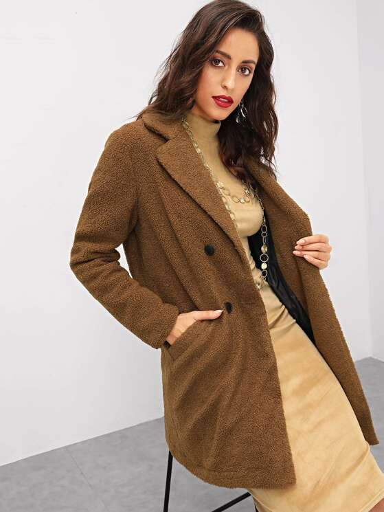 a4832084eb Notch Collar Double Breasted Teddy Coat | MakeMeChic.COM