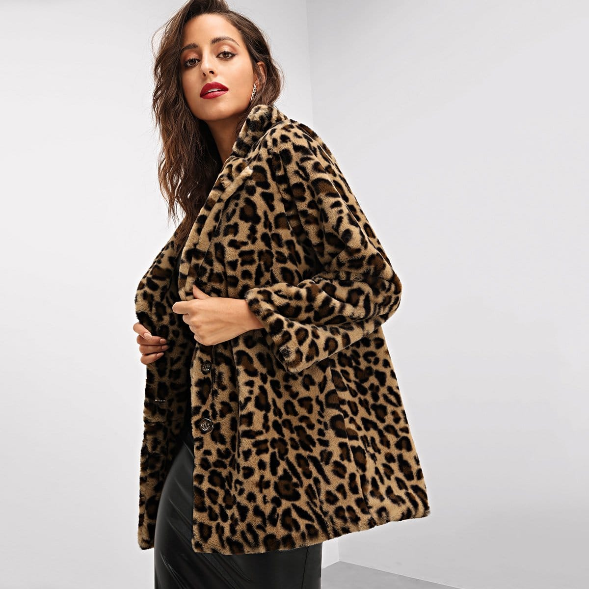 Faux fur luipaardprint jas
