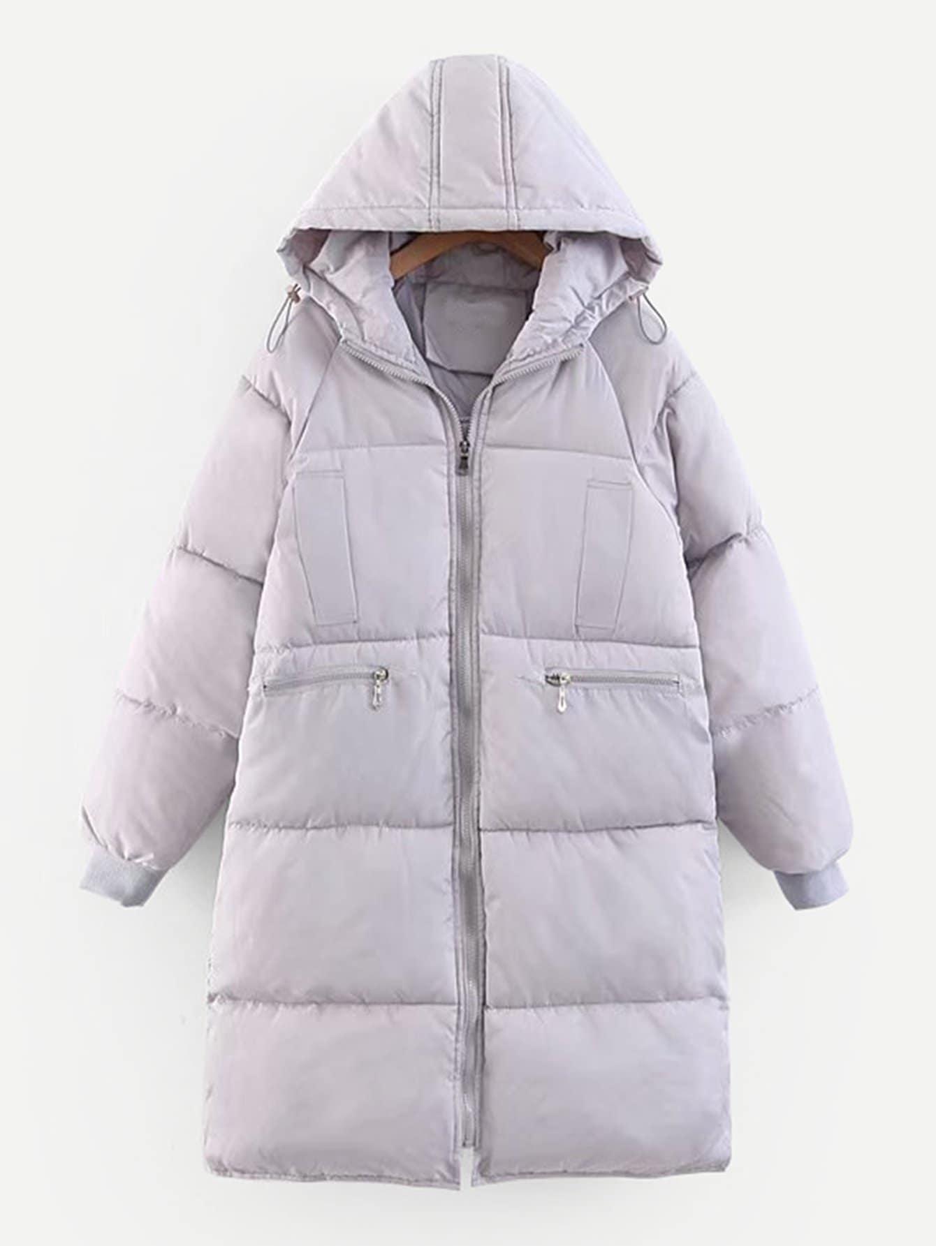 Купить Пальто с капюшоном и застёжкой молния и кулиской, null, SheIn