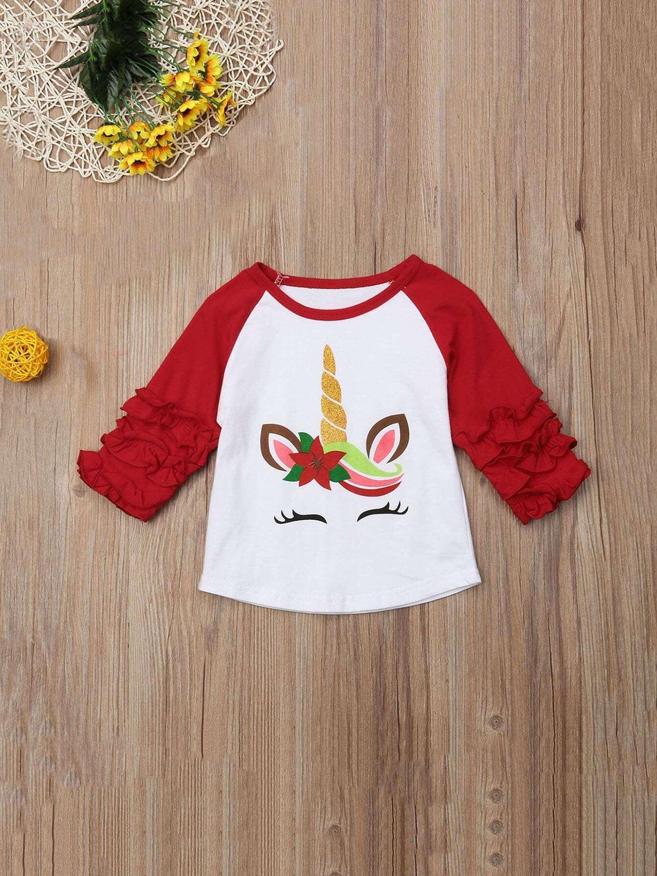 Купить Контрастная футболка с рукав-регланами и кружевными оборками и принтом мультяшным для маленьких девочек, null, SheIn