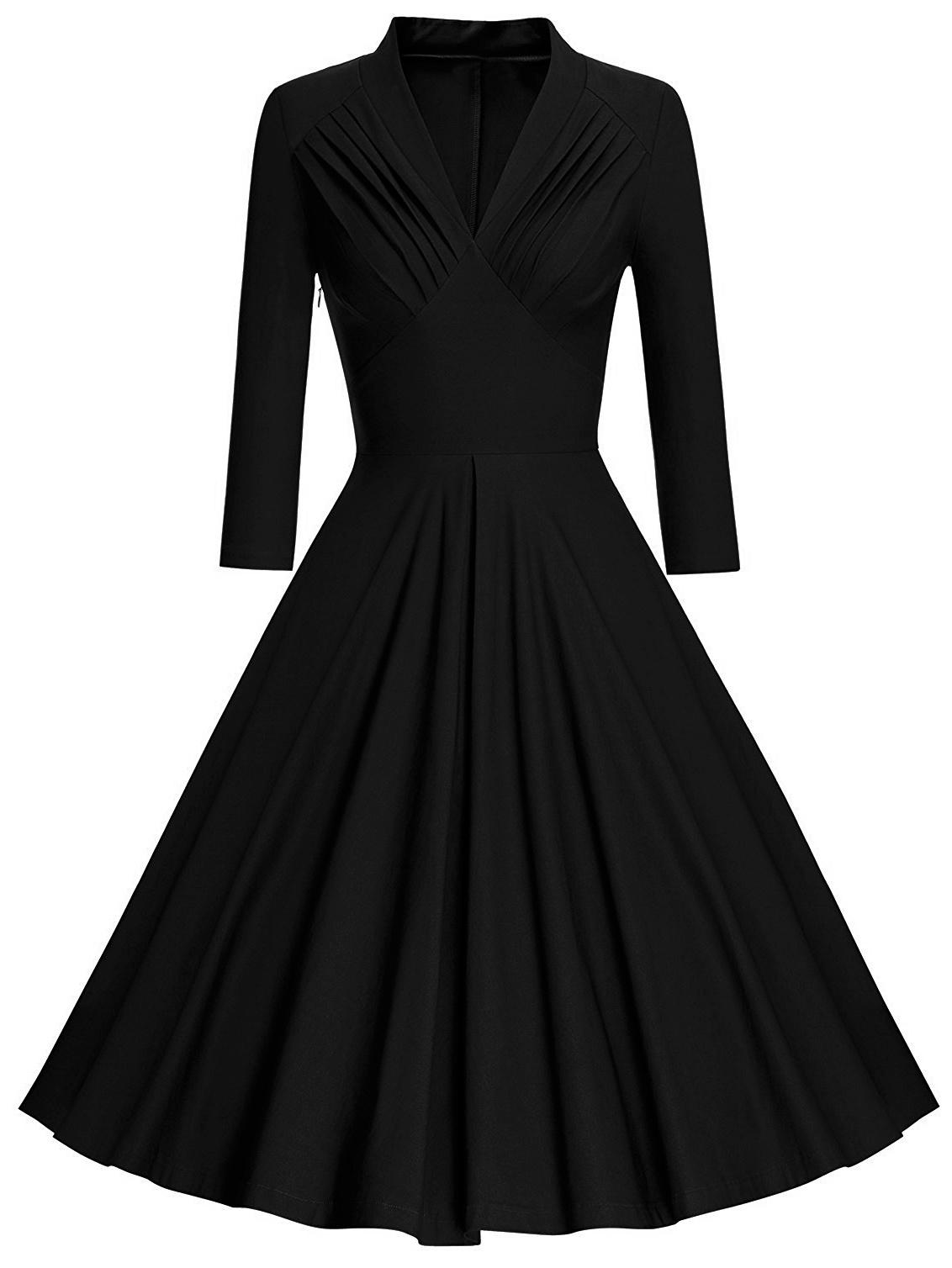 Купить 50s плиссированное платье клёш с V-образным вырезом, null, SheIn
