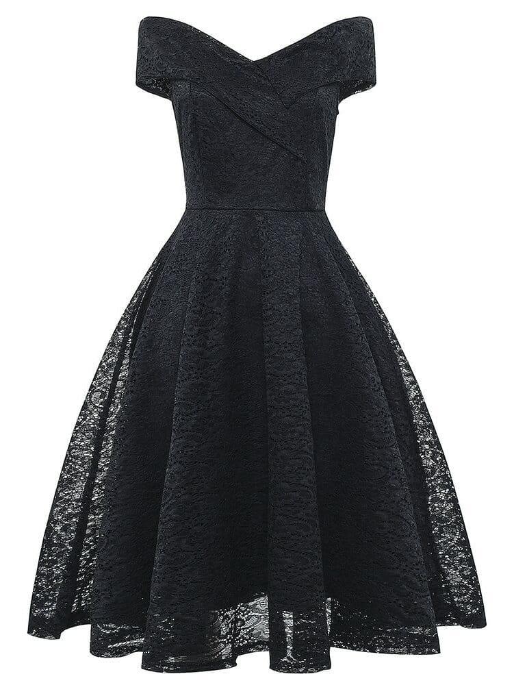 Купить 50s платье клёш с кружевами и открытыми плечами, null, SheIn