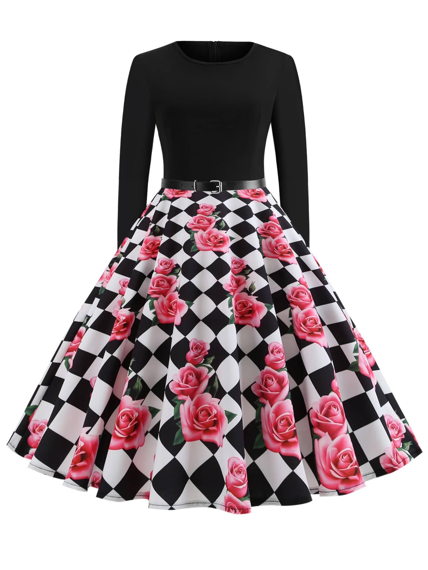 Купить 50s платье клёш с поясом и принтом цветочным, null, SheIn