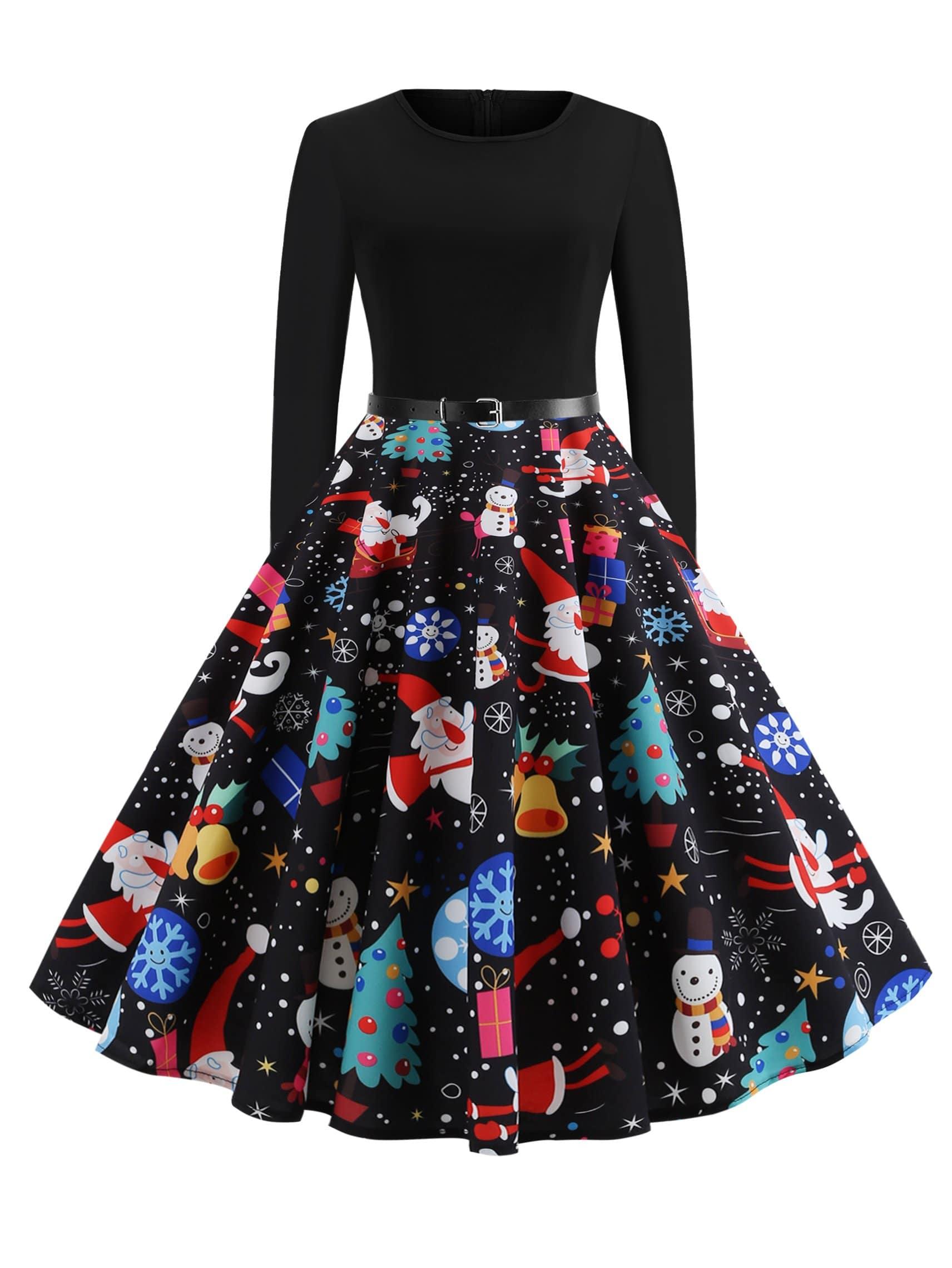 Купить 50s платье клёш с поясом и принтом рождественским, null, SheIn