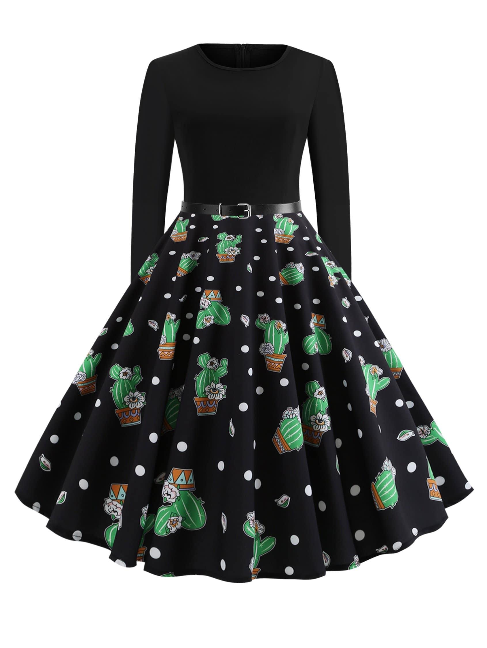 Купить 50s платье клёш с поясом и принтом кактусов, null, SheIn