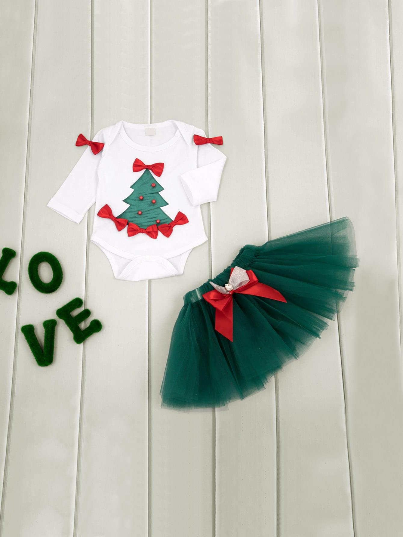 Купить Блуза с бантом и принтом рождественским и юбка для маленьких малышей, null, SheIn