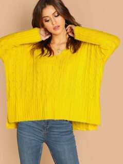 V-Neck Side Slit Cable Knit Loose Pullover Sweater