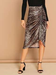 Ruched Side Leopard Asymmetric Midi Skirt