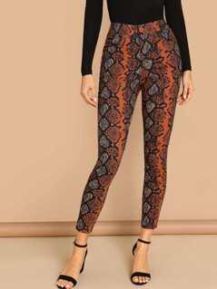Snake Print Back Zipper Skinny Pants