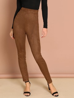 Faux Suede High Waisted Back Zipper Skinny Pants