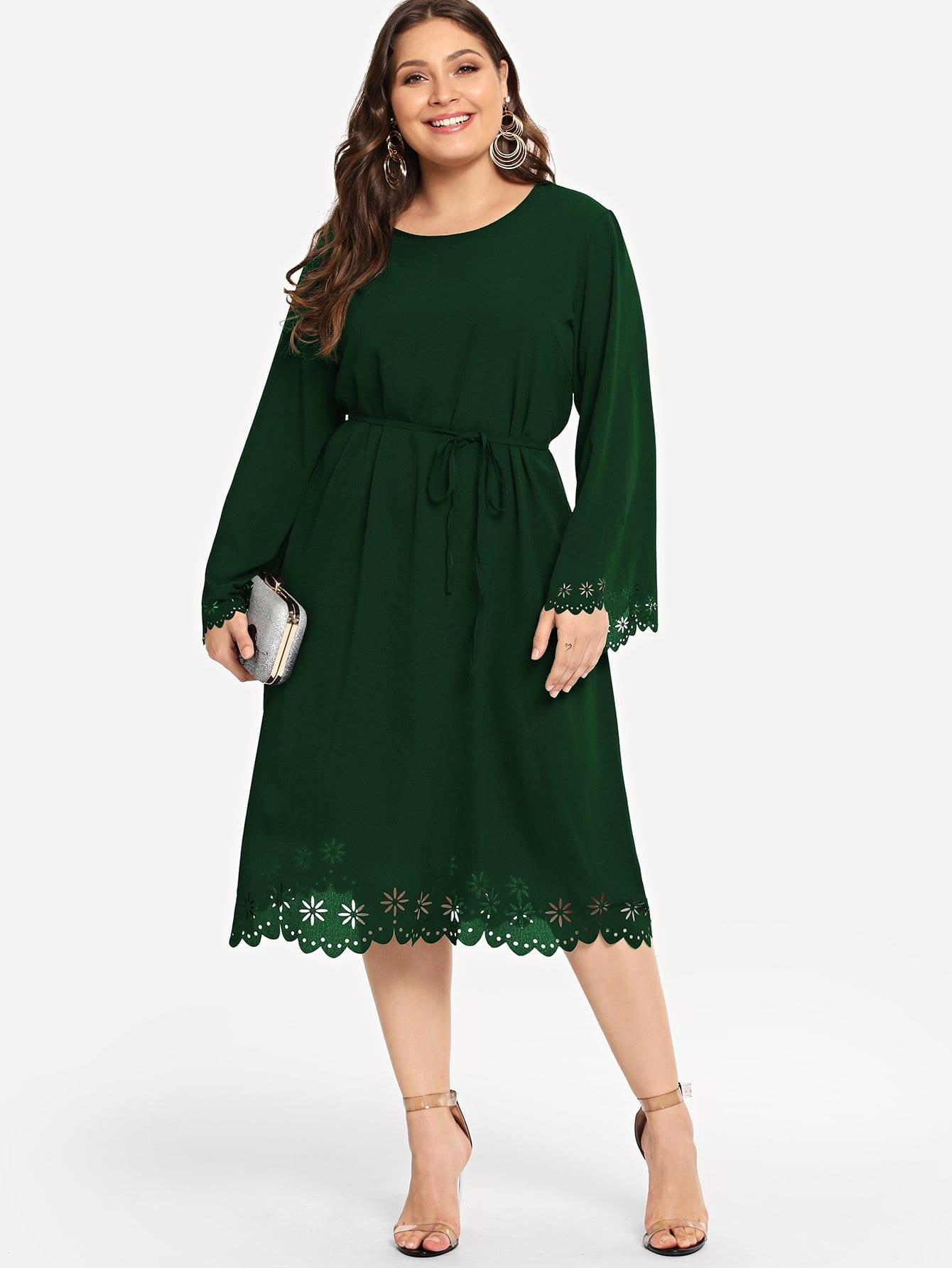 Купить Размера плюс платье с поясом и разрезами, Carol, SheIn