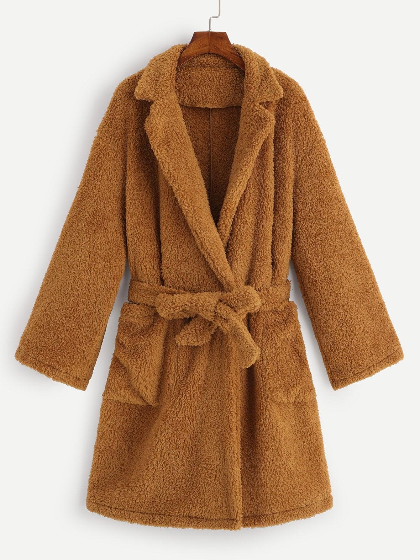 Купить Размера плюс пальто тедди с поясом и карманом, null, SheIn