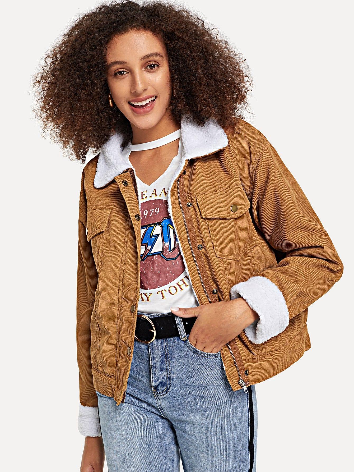Купить Вельветовая ветровка с карманом и шерстяшной подкладкой, Elaine, SheIn
