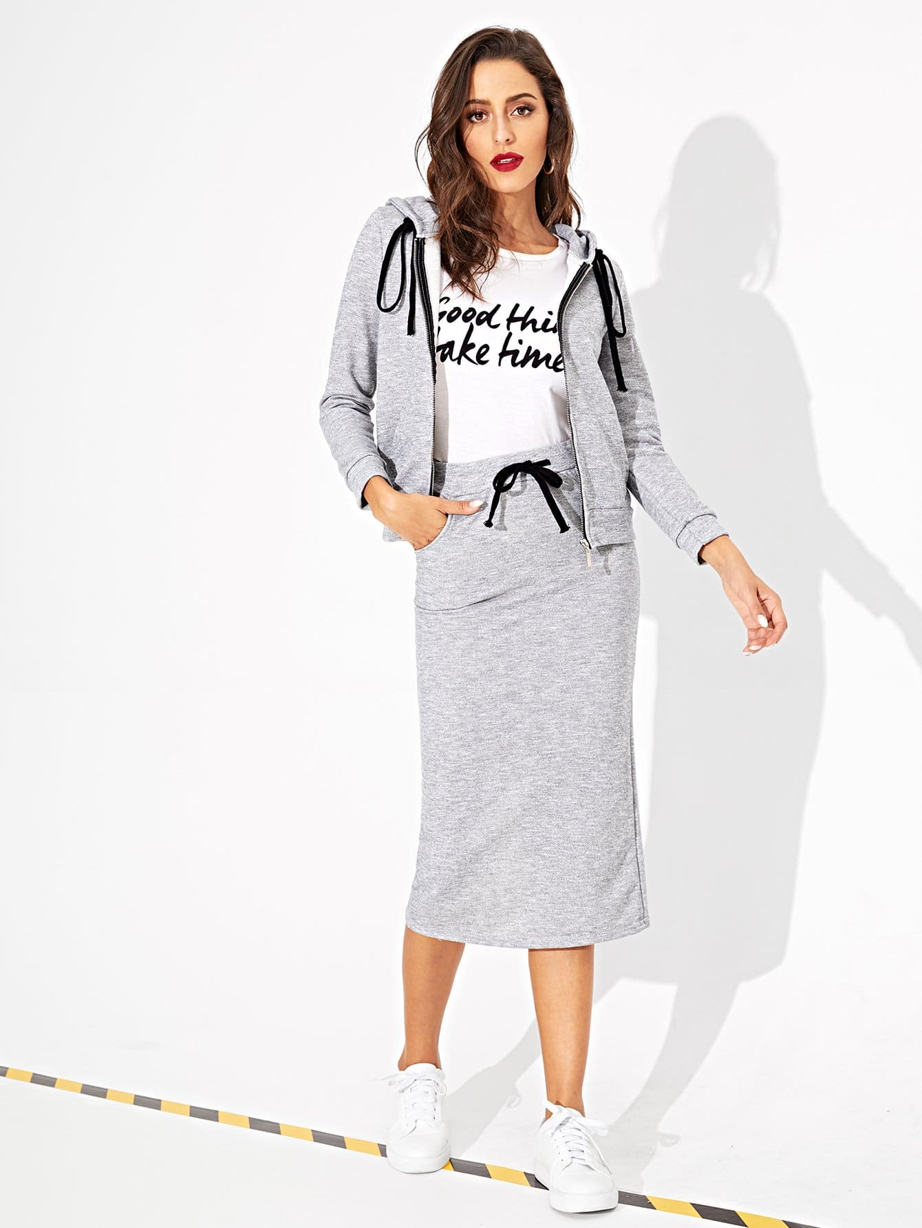 Купить Ветровка с капюшоном и застёжкой молния и юбка с вырезом, Mary P., SheIn