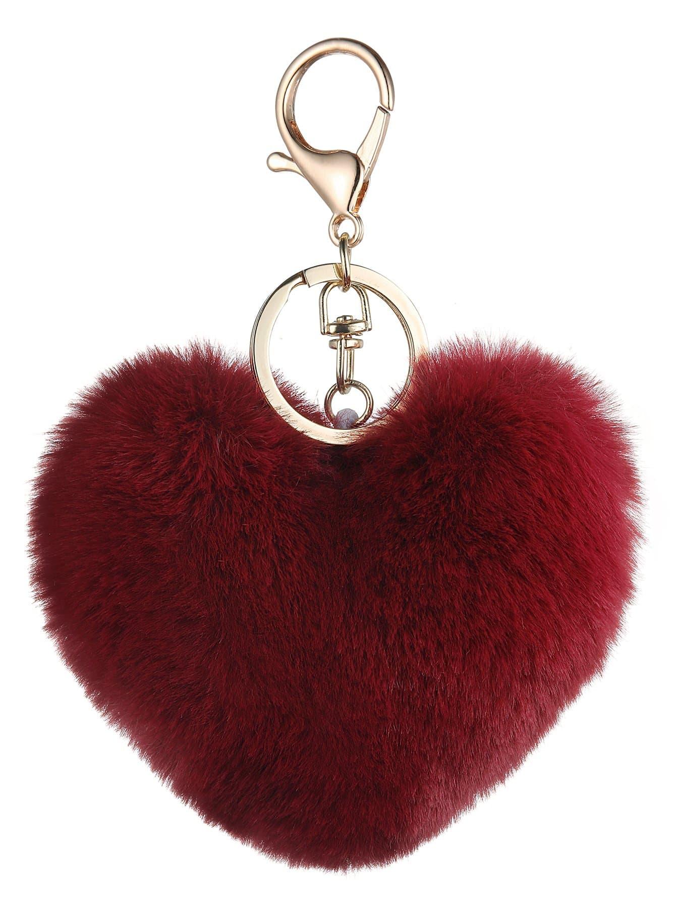 Купить Брелок для ключей с помпоном в форме сердца, null, SheIn