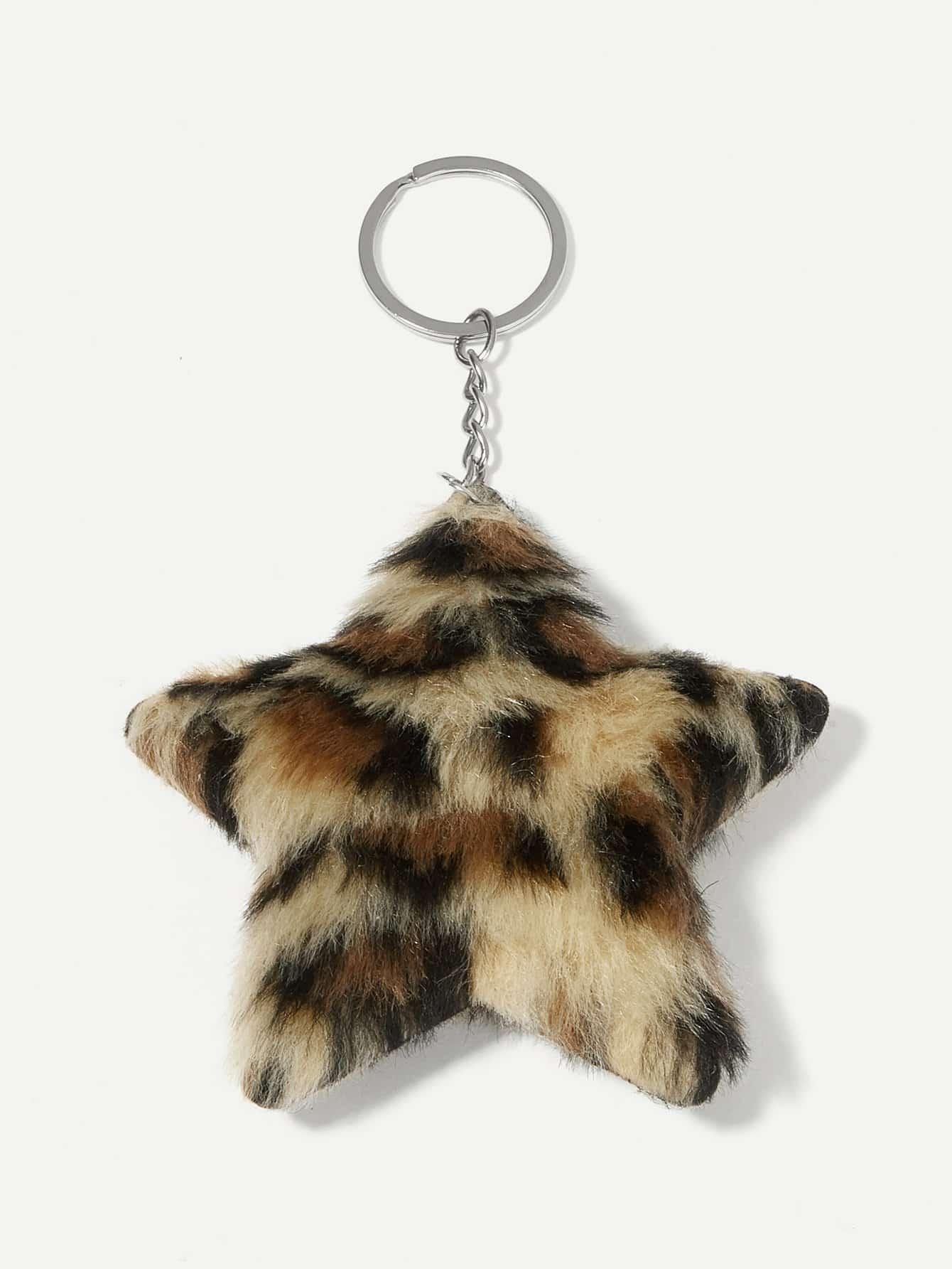 Купить Пушистый брелок для ключей в форме леопардовой звезды, null, SheIn