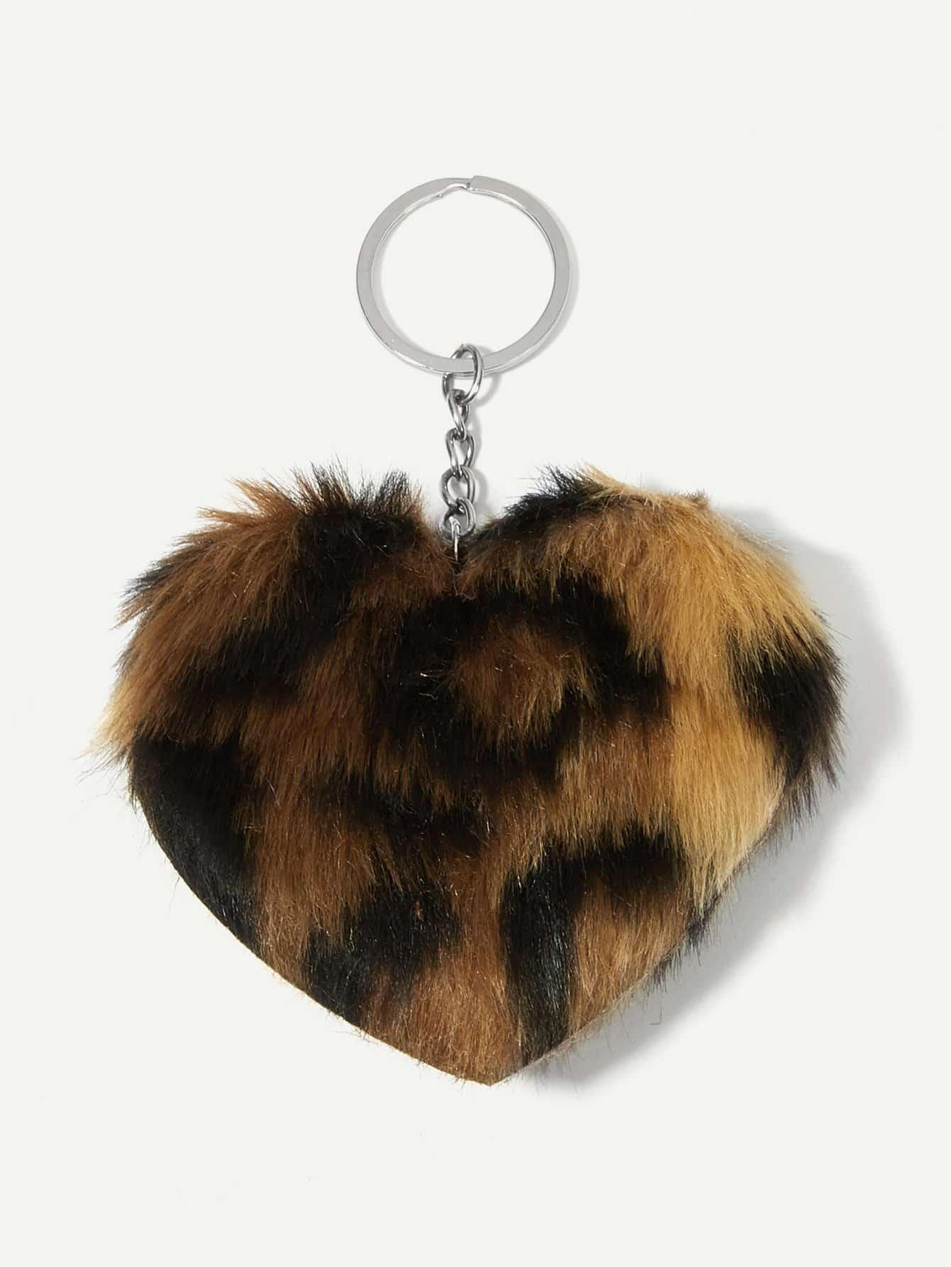 Купить Леопардовый пушистый брелок для ключей в форме сердца, null, SheIn