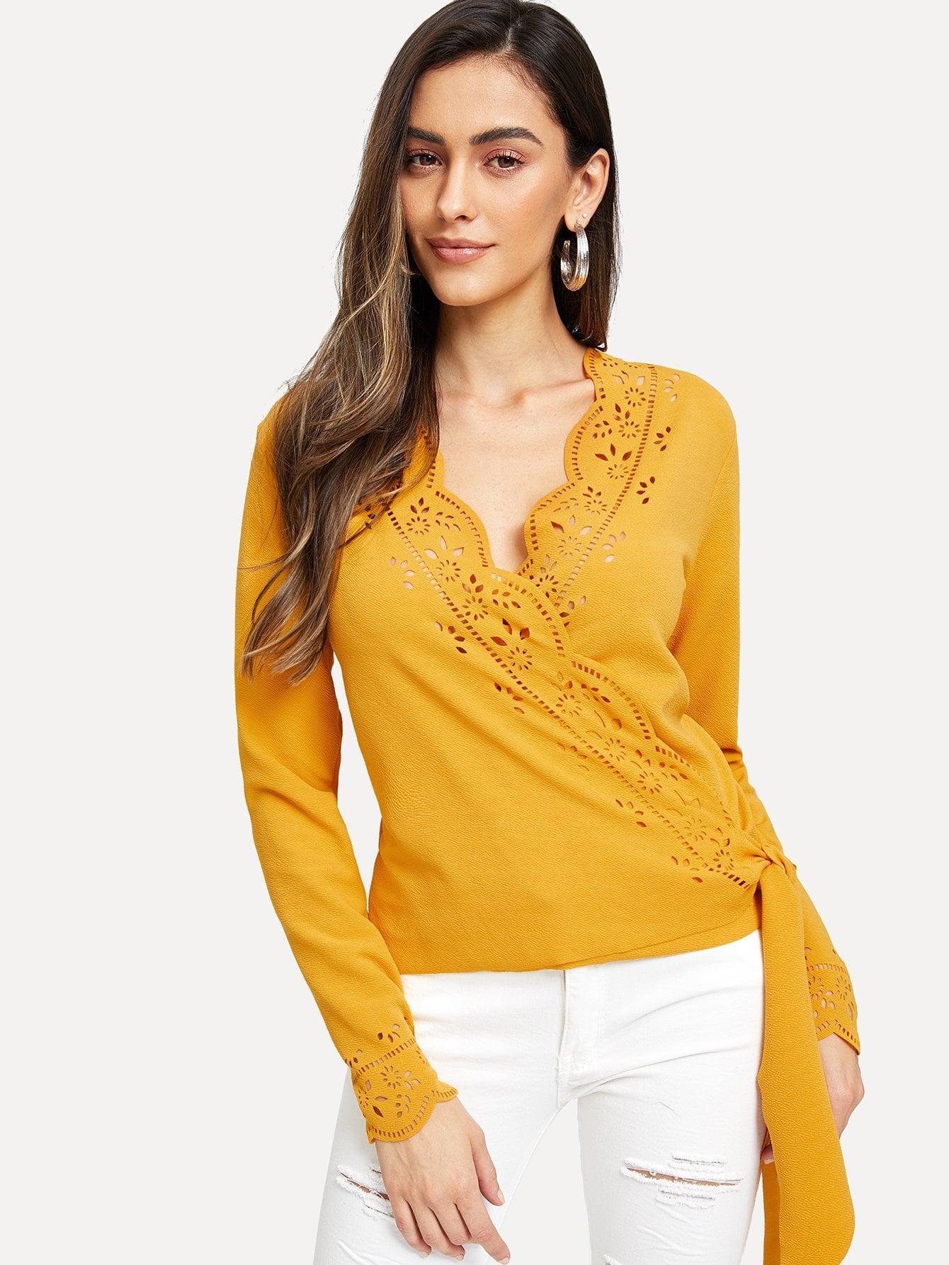 Фото - Гребешок лазерная резка блузка от SheIn желтого цвета