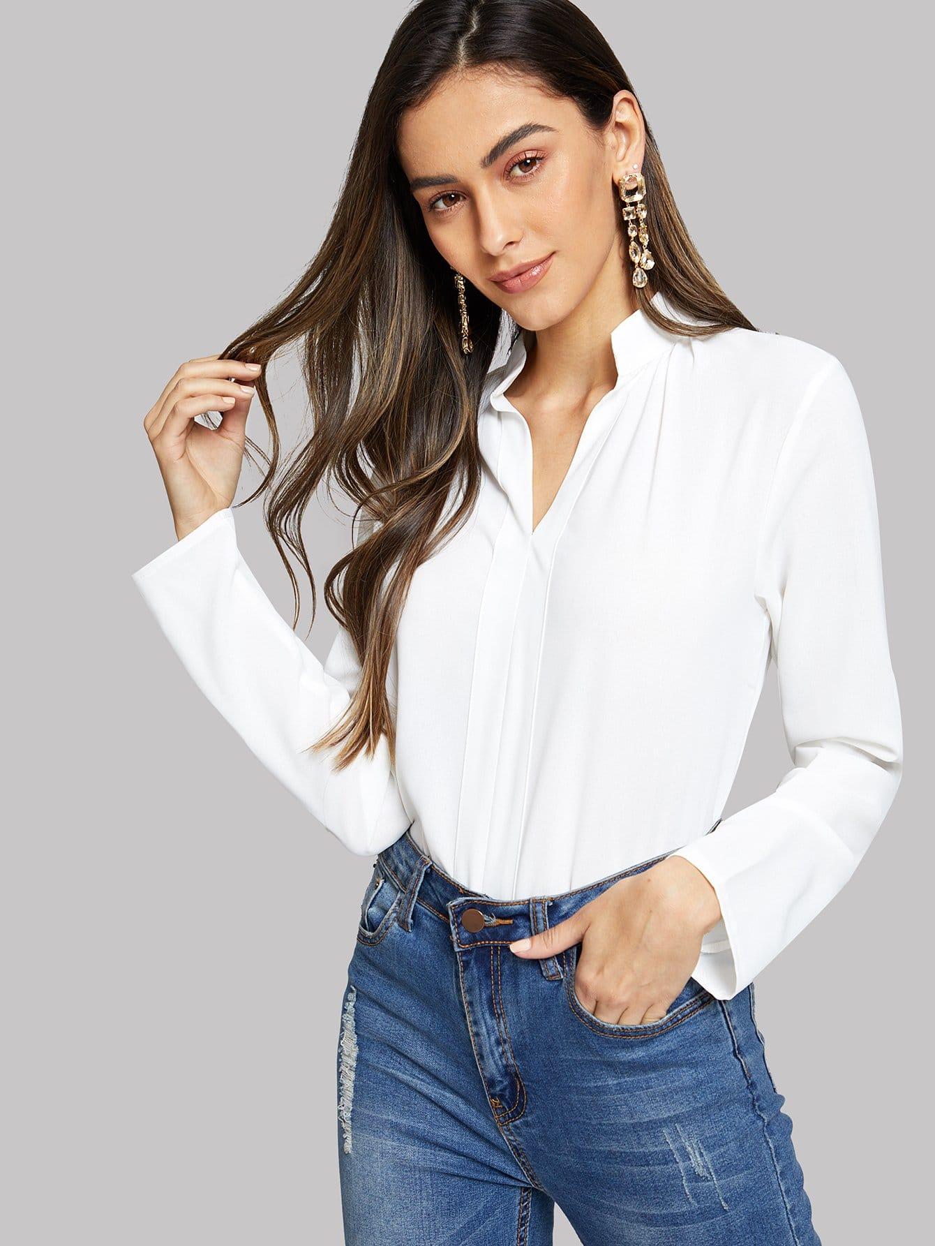 Купить Однотонная блуза с V-образным вырезом, Carol A, SheIn