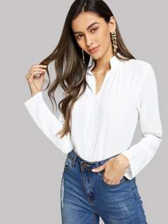 V-Cut Neck Solid Blouse