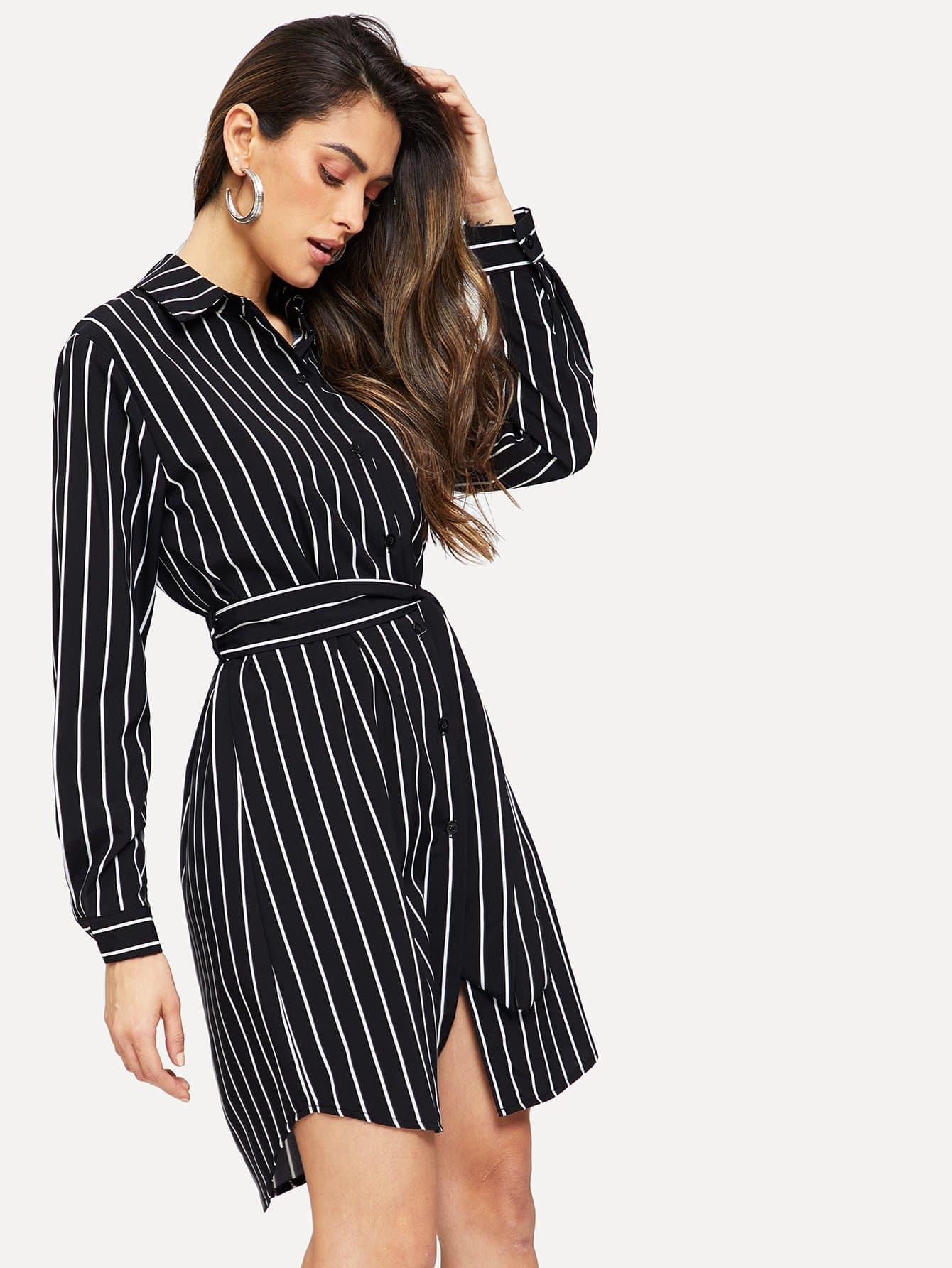 Купить Полосатое одеобортное платье-рубашки униформы, Carol A, SheIn