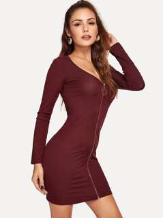 O-Ring Zip Up Solid Dress