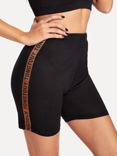 Lettering Tape Side Cycling Shorts