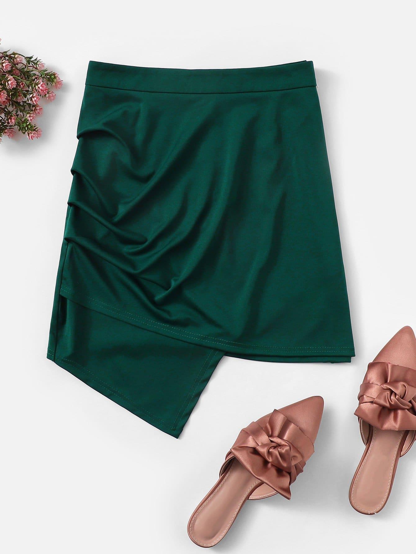 Купить Твердая асимметричная юбка, null, SheIn