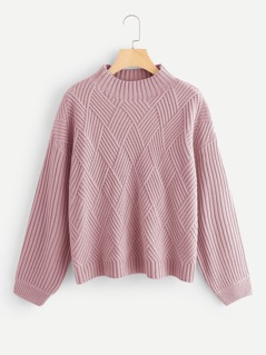 Geo Front Rib Knit Sweater