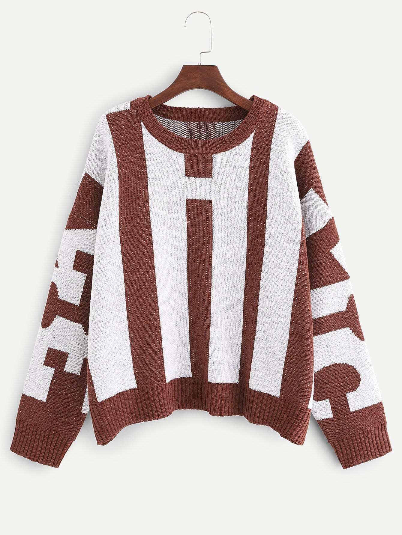 Купить Два тона свитер в полоску размера плюс, null, SheIn