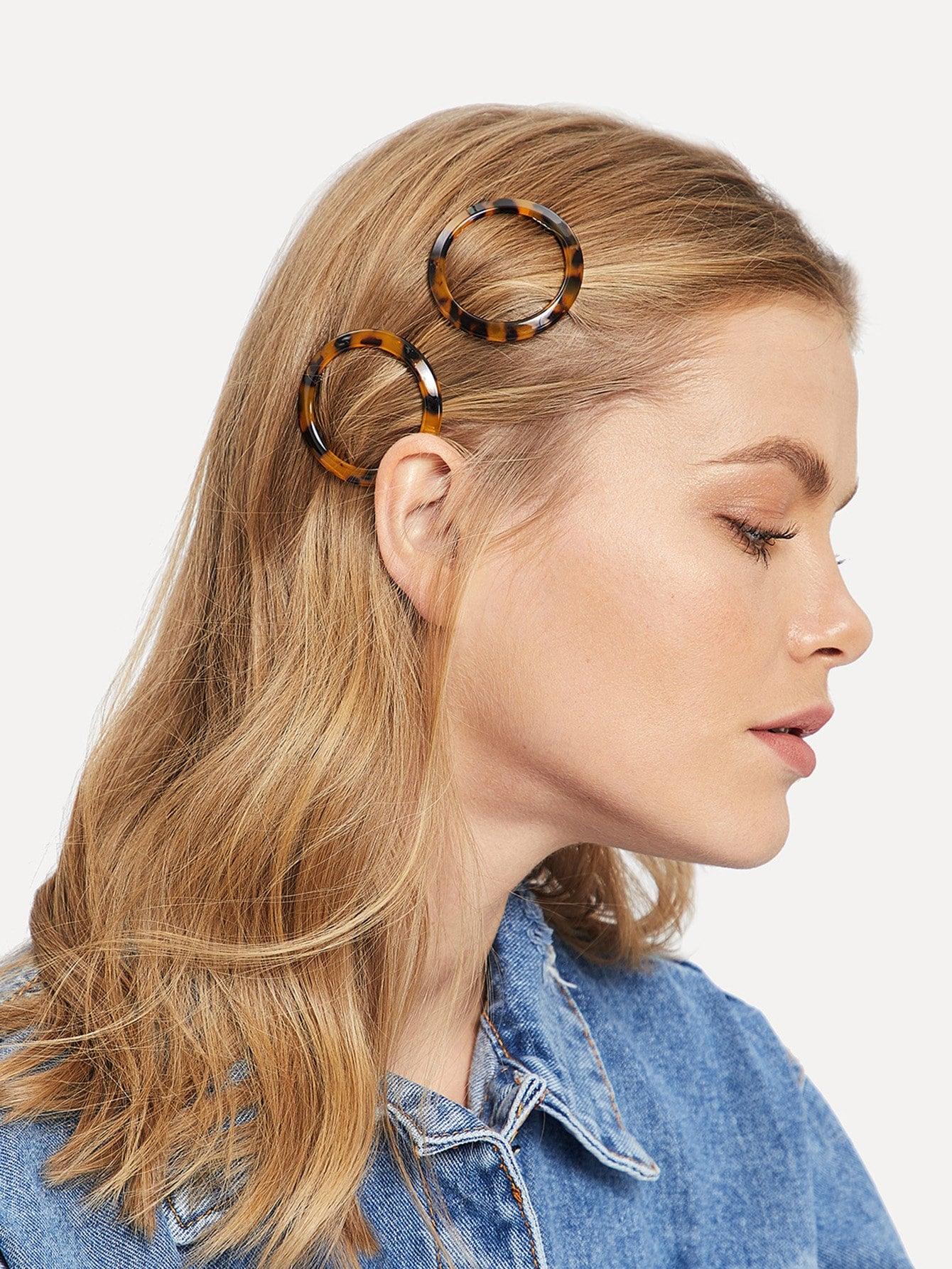 Фото - Леопардовая круглая заколка для волос 2 шт от SheIn цвет многоцветный