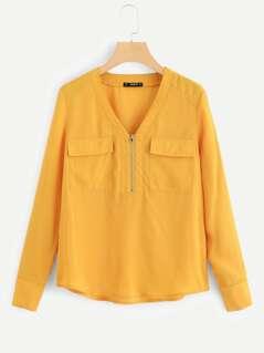 Flap Pocket Tab Sleeve Shirt