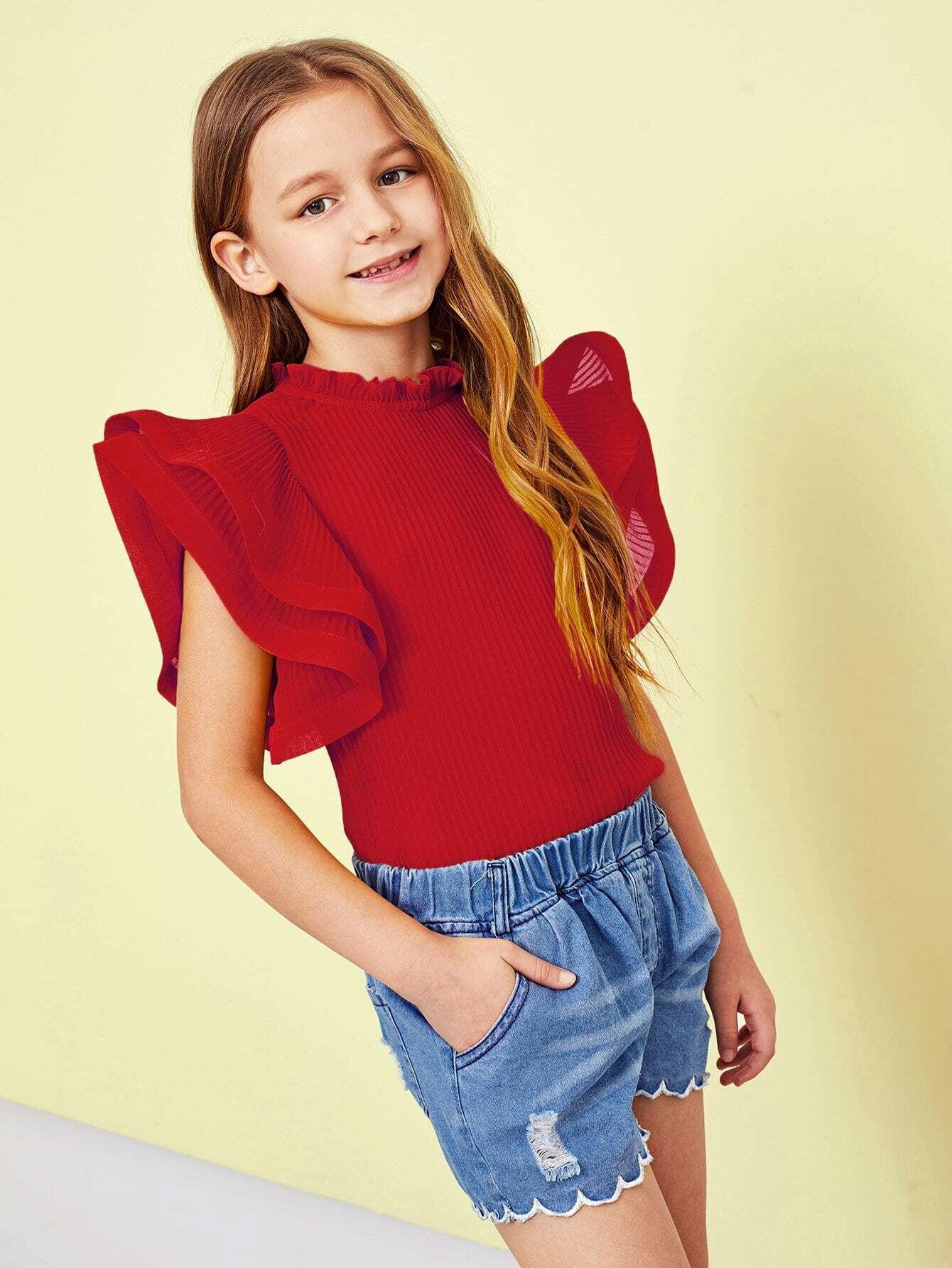 Фото - Для девочек блузка с оборками рукавами от SheIn красного цвета