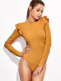 Mock Neck Frill Detail Textured Bodysuit