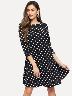 3/4 Sleeve Polka Dot Flowy Dress